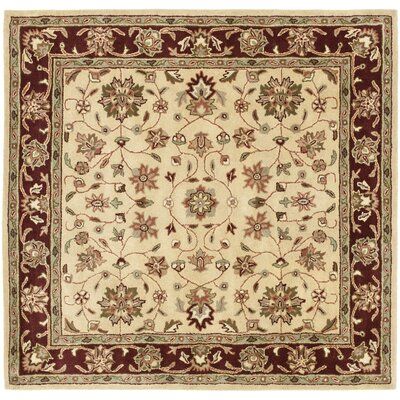 Cranmore Ivory/Red Area Rug Rug Size: Square 6