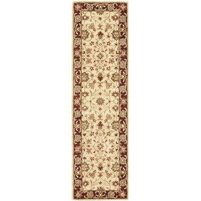 Cranmore Ivory/Red Area Rug Rug Size: Runner 23 x 12