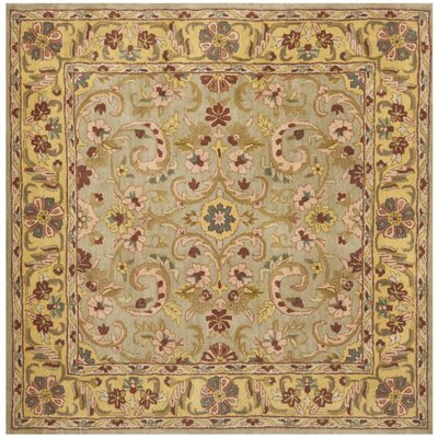 Cranmore Green/Gold Floral Area Rug Rug Size: Square 6