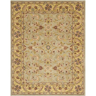 Cranmore Green/Gold Floral Area Rug Rug Size: Rectangle 83 x 11