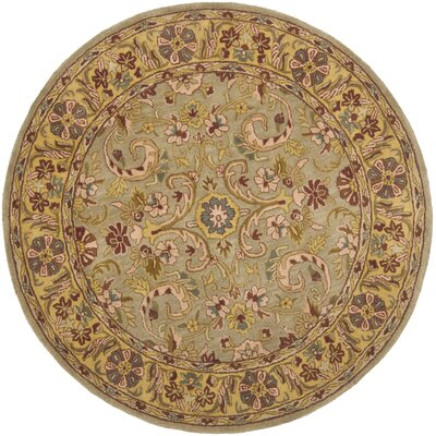 Cranmore Green/Gold Floral Area Rug Rug Size: Round 6