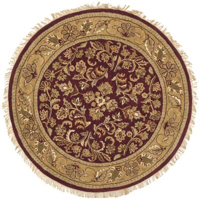 Cranmore Red/Gold Area Rug Rug Size: Round 6