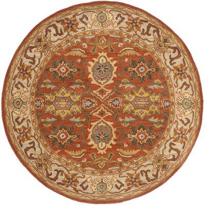 Cranmore Rust/Beige Oriental Area Rug Rug Size: Round 6