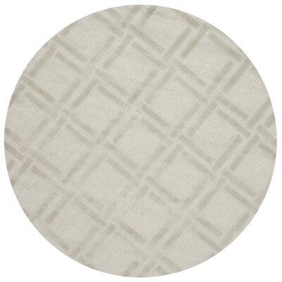 Opal Hand Woven Wool Gray Area Rug Rug Size: Round 5
