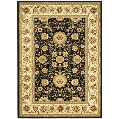 Ottis Black/Cream Area Rug Rug Size: 79 x 109
