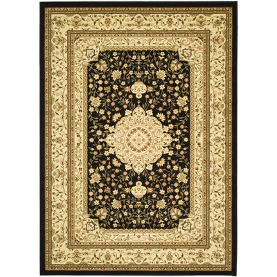 Ottis Black/Cream Area Rug Rug Size: 53 x 76
