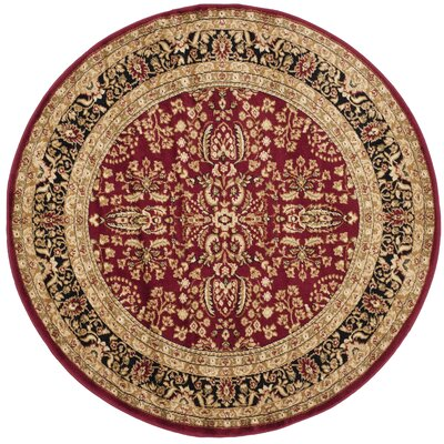 Ottis Red/Black Area Rug Rug Size: Round 53