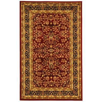 Ottis Red/Black Area Rug Rug Size: 53 x 76