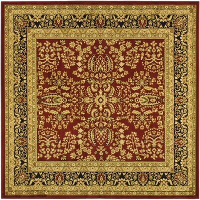 Ottis Red/Black Area Rug Rug Size: Square 8