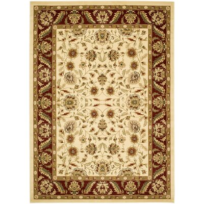 Ottis Cream/Red Area Rug Rug Size: 4' x 6'