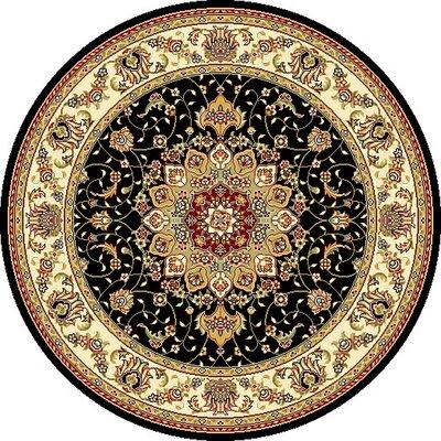 Ottis Black/Ivory Area Rug Rug Size: Round 4 x 4