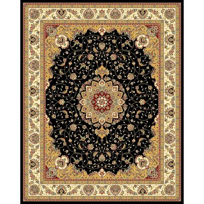 Ottis Black/Ivory Area Rug Rug Size: Rectangle 9 x 12