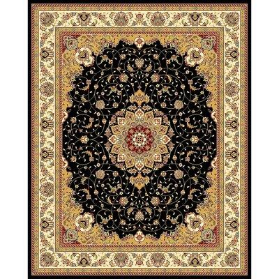 Ottis Black/Ivory Area Rug Rug Size: 79 x 109