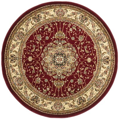Ottis Red/Ivory Area Rug Rug Size: Round 5'
