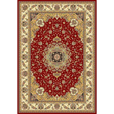 Ottis Red/Ivory Area Rug Rug Size: Rectangle 53 x 76