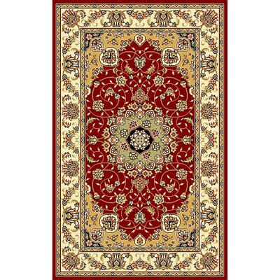 Ottis Red/Ivory Area Rug Rug Size: 33 x 53