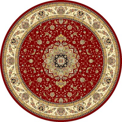 Ottis Red/Ivory Area Rug Rug Size: Round 8
