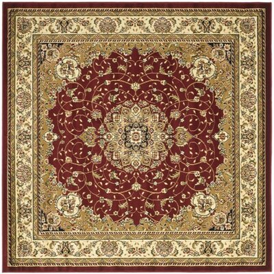 Ottis Red/Ivory Area Rug Rug Size: Square 8
