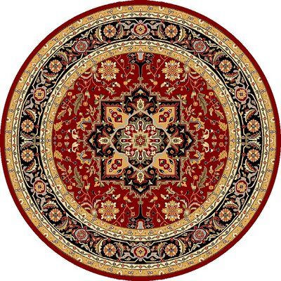 Ottis Mary Red & Black Area Rug Rug Size: Round 5