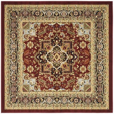 Ottis Mary Red & Black Area Rug Rug Size: Square 8
