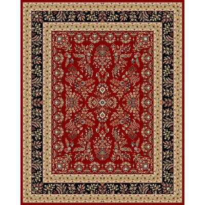 Ottis Lianne Red/Black Area Rug Rug Size: 53 x 76