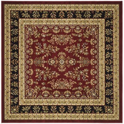 Ottis Lianne Red/Black Area Rug Rug Size: Square 6