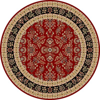 Ottis Lianne Red Area Rug Rug Size: Round 8