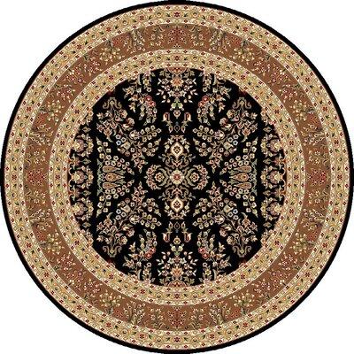 Ottis Black/Tan Area Rug Rug Size: Round 8
