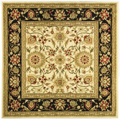 Ottis Ivory/Black Area Rug Rug Size: Square 6'