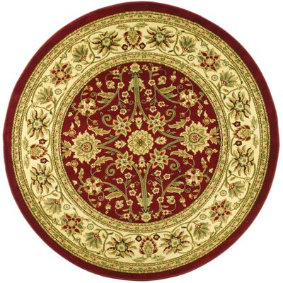 Ottis Red/Ivory Persian Area Rug Rug Size: Round 53