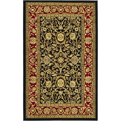 Ottis Black/Red Area Rug Rug Size: 33 x 53