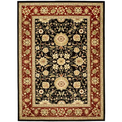 Ottis Black/Red Area Rug Rug Size: 79 x 109
