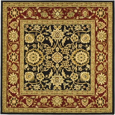 Ottis Black/Red Area Rug Rug Size: Square 6