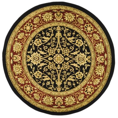Ottis Black/Red Area Rug Rug Size: Round 53