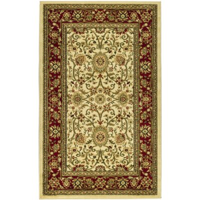 Ottis Ivory/Red Area Rug Rug Size: 53 x 76