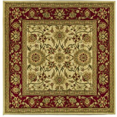 Ottis Ivory/Red Area Rug Rug Size: Square 8