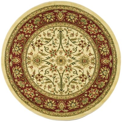Ottis Ivory/Red Area Rug Rug Size: Round 5'3