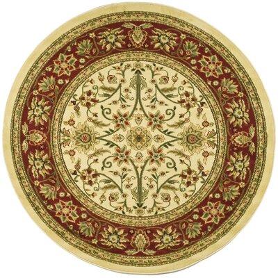 Ottis Ivory/Red Area Rug Rug Size: Round 8