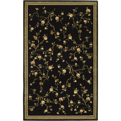 Ottis Black/Green Area Rug Rug Size: 33 x 53
