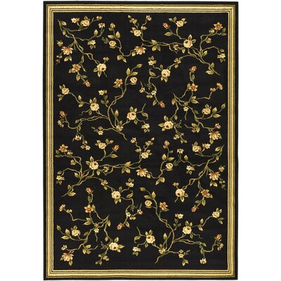 Ottis Black/Green Area Rug Rug Size: 79 x 109