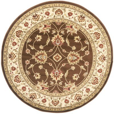 Ottis Brown/Ivory Persian Area Rug Rug Size: Round 53