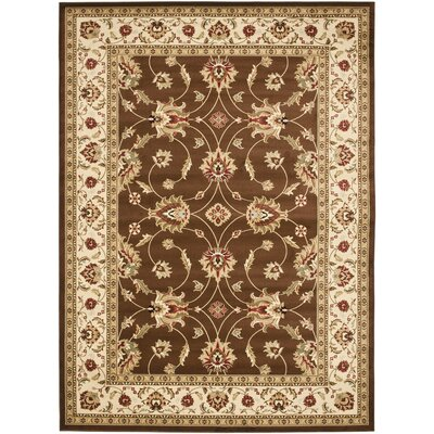 Ottis Brown/Ivory Persian Area Rug Rug Size: 53 x 76