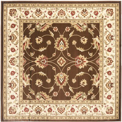 Ottis Brown/Ivory Persian Area Rug Rug Size: Square 67