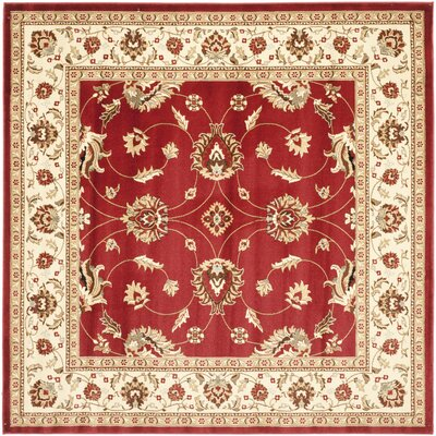 Ottis Red/Ivory Persian Area Rug Rug Size: Square 67