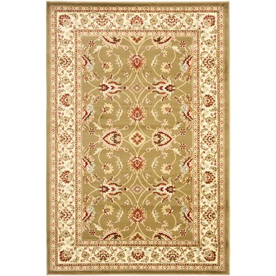 Ottis Green/Ivory Area Rug Rug Size: 33 x 53