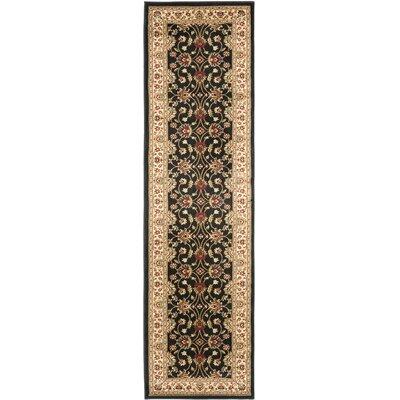 Ottis Black/Ivory Persian Area Rug Rug Size: Runner 23 x 16