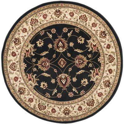 Ottis Black/Ivory Persian Area Rug Rug Size: Round 53