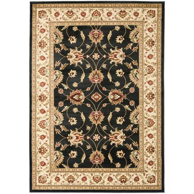 Ottis Black/Ivory Persian Area Rug Rug Size: 53 x 76