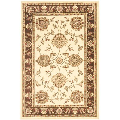 Ottis Ivory/Brown Area Rug Rug Size: 4 x 6