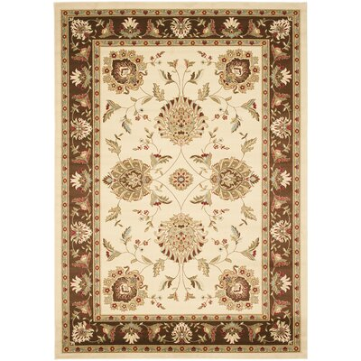 Ottis Ivory/Brown Area Rug Rug Size: 67 x 96